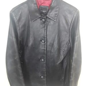 Colebrook  black leather jacket coat